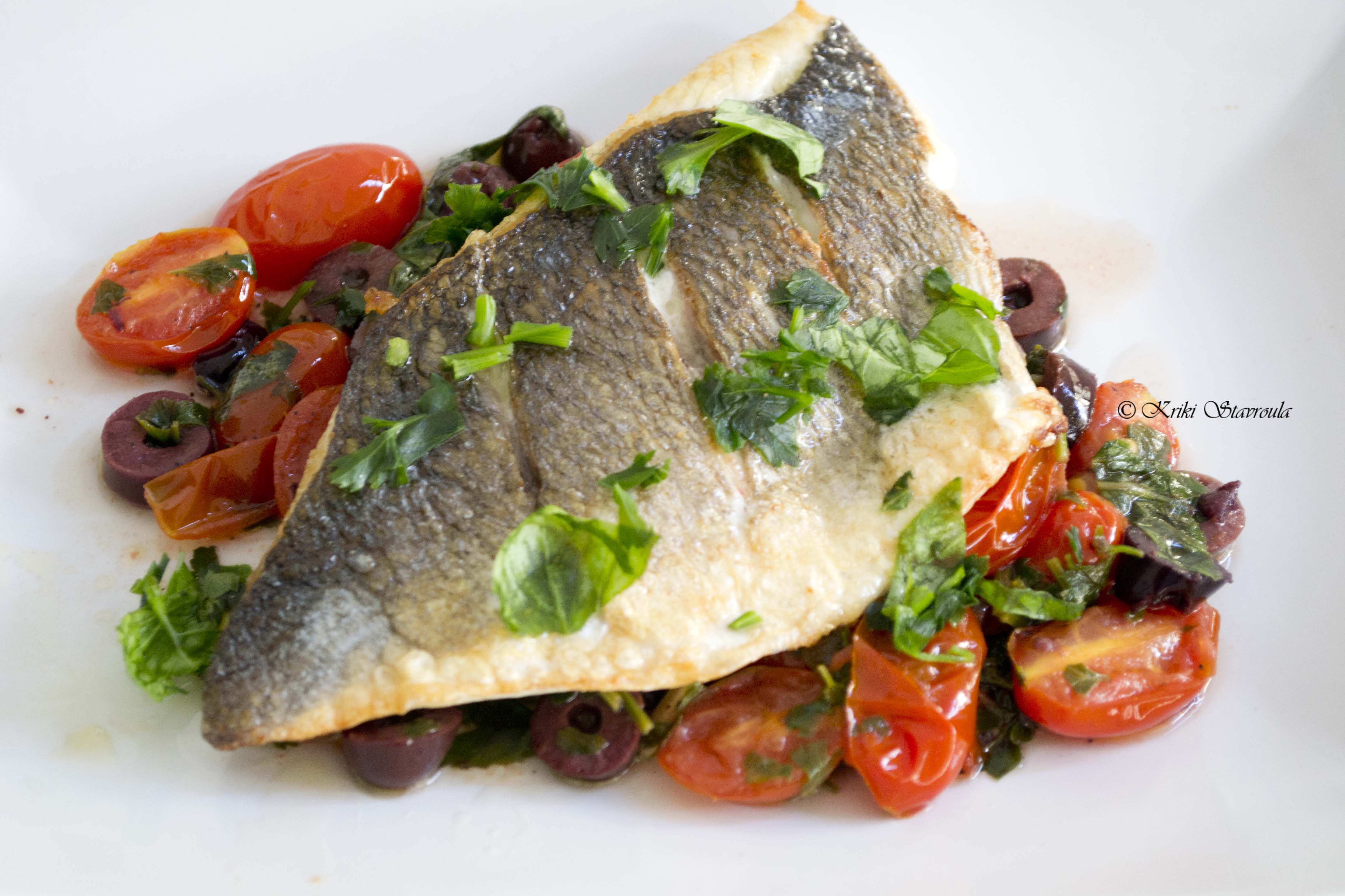 Sea bream with tomato and herb salsa